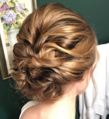27 Trendy Updos For Medium Length Hair: Updo Hairstyle Ideas For 2019 Intended For Wedding Updos For Medium Length Hair