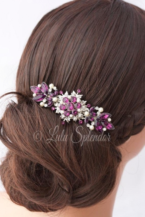 Amethyst Wedding Hair Comb Purple Rhinestone Wedding Hair throughout Purple Wedding Hair Accessories