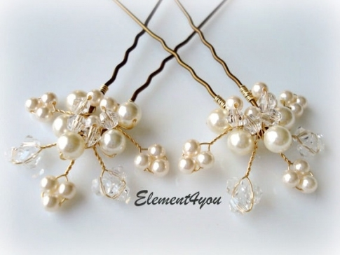 Bridal Hair Piece. Wedding Hair Pins. Leaves. Hair Vines. Ivory Gold Pertaining To Hair Pins For Wedding