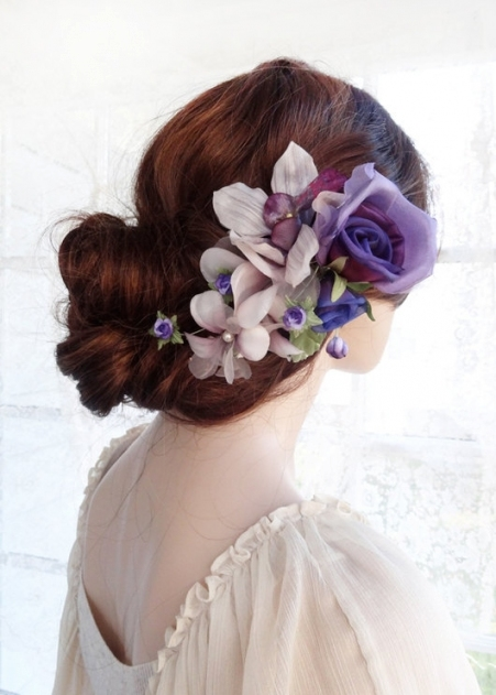 Bridal Headpiece, Purple Hair Flower, Luxury Bridal Hair Piece Within Purple Wedding Hair Accessories