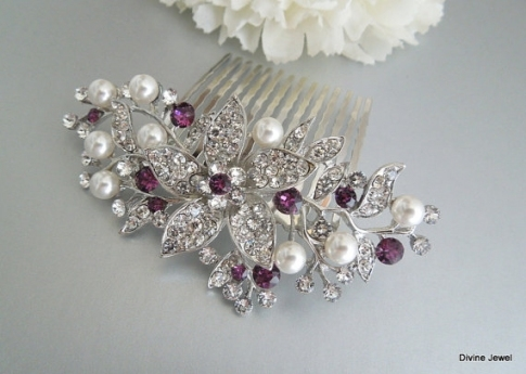 Bridal Purple Swarovski Crystal Wedding Comb,wedding Hair For Purple Wedding Hair Accessories