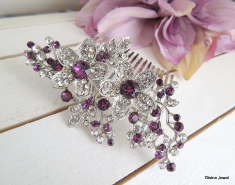 Bridal Purple Swarovski Crystal Wedding Comb,wedding Hair Within Purple Wedding Hair Accessories