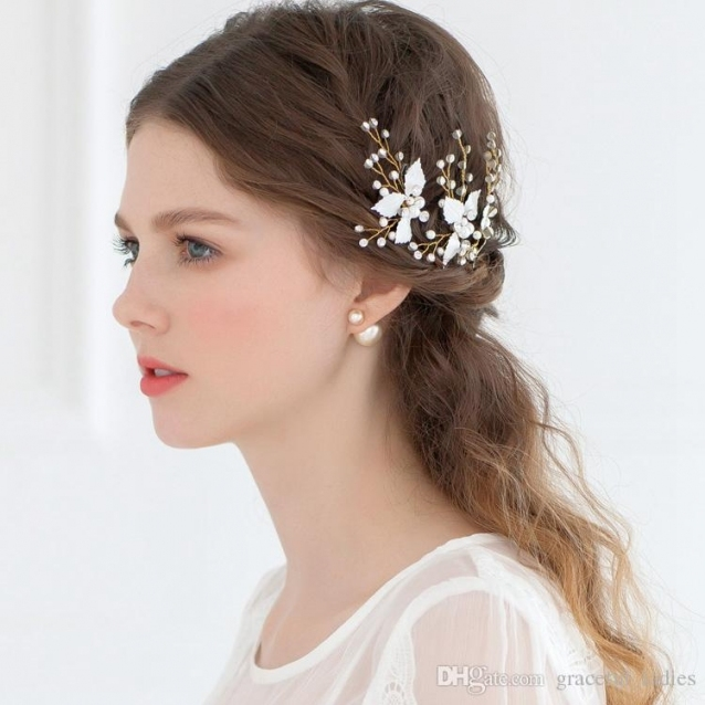 Cheap Bridal Hair Accessories Petite Enamel Leaf Bobby Pins Wedding Within New Hair Pins For Wedding Ty4