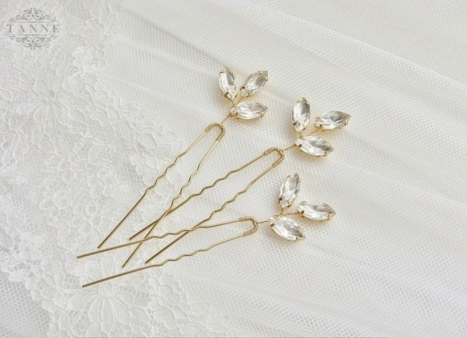 Crystal Hair Pins, Wedding Hair Pins, Gold Leaf Hair Pins, Bridal Inside Hair Pins For Wedding