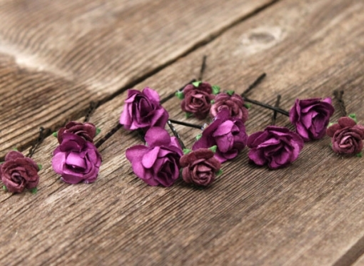 Flower Hair Pins Bridal | Hair Accessories Purple Plum Bobby Pins with Purple Wedding Hair Accessories