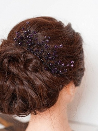 Fxmimior Bridal Hair Accessories Hair Comb Violet Wedding Purple Inside Purple Wedding Hair Accessories