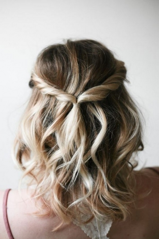 Half Up Half Down Wedding Hairstyle For Medium Hair   Oh Best Day Ever Regarding Best Of Wedding Hairstyles For Medium Hair Ty4