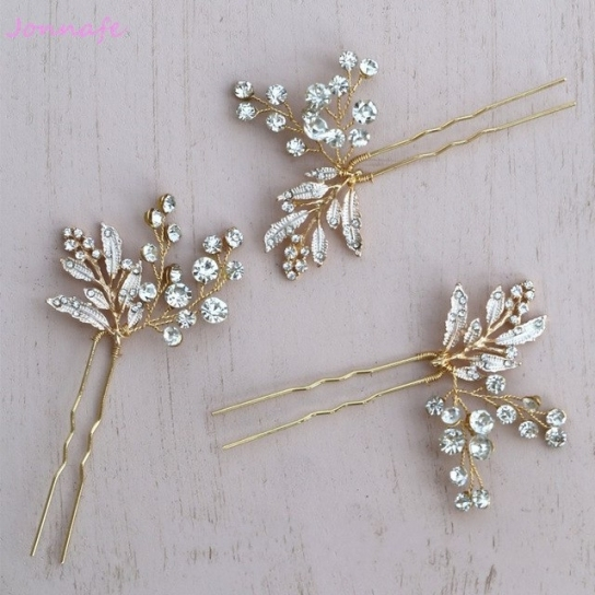 Jonnafe Gold Leaf Hair Pins Bridal Rhinestone Jewelry Wedding Pertaining To Hair Pins For Wedding