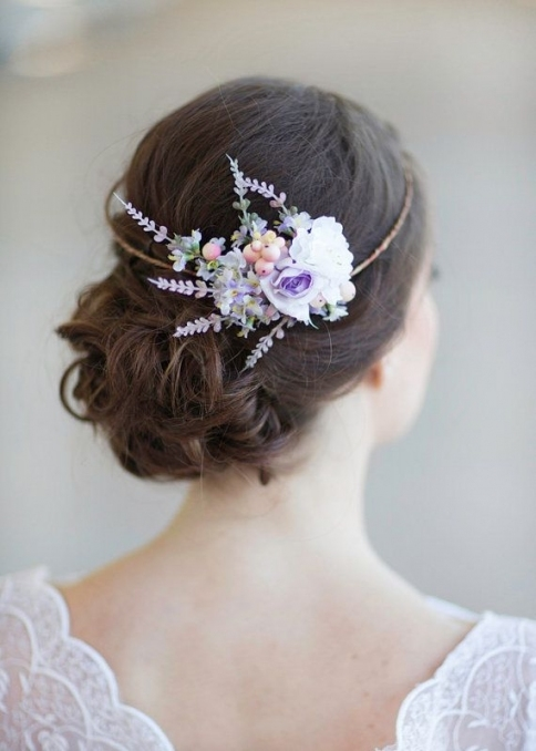 Lilac Bridal Hair Accessories, Floral Circlet, Peach, Lavender throughout Purple Wedding Hair Accessories