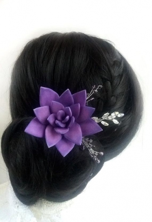Lilac Flower Hair Pin Ultra Violet Wedding Hairpiece Purple Floral Intended For Purple Wedding Hair Accessories