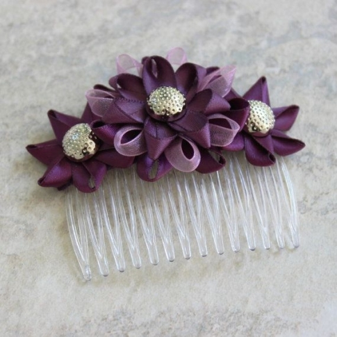 Plum Hair Accessories Plum Wedding Hair Combpetalperceptions Pertaining To Unique Purple Wedding Hair Accessories Dt3