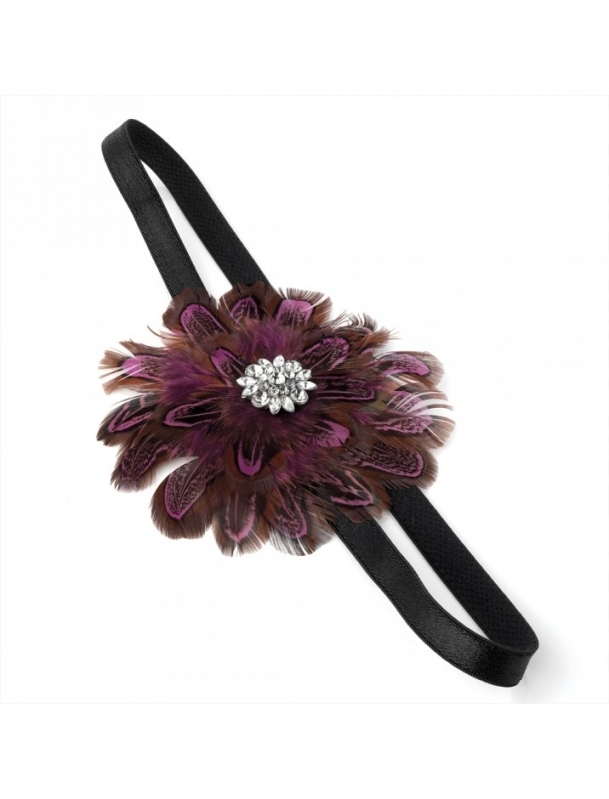 Purple Feather Flower Headband - Bridal Wedding Hair Accessories intended for Unique Purple Wedding Hair Accessories dt3