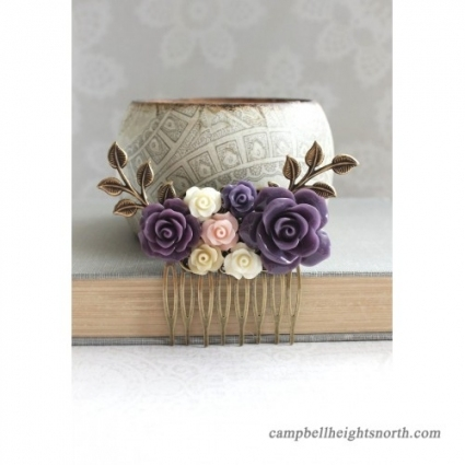 Purple Flower Hair Comb Blush Pink Rose Comb Floral Collage Hair Inside Purple Wedding Hair Accessories