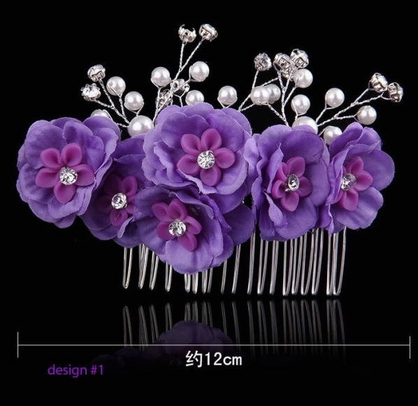 Purple Hair Combs Wedding Party Prom Hair Accessories For Flower In Purple Wedding Hair Accessories