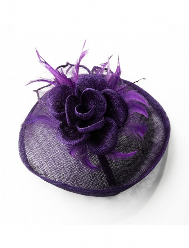 Purple Mesh Flower & Feather Disc Hairclip Fascinator   Bridal With Regard To Purple Wedding Hair Accessories