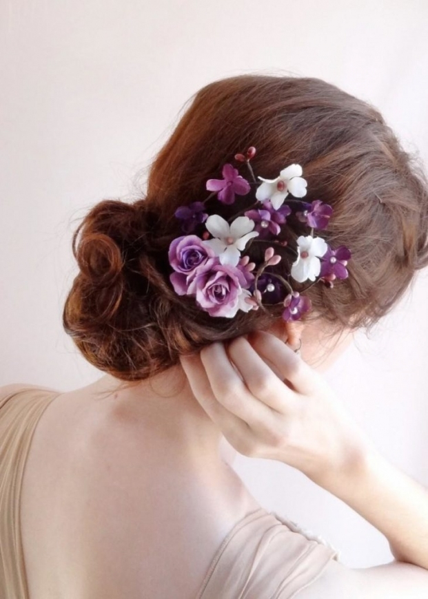 Purple Wedding Hair Accessories Bridal Hair Clip Floral Hair Comb In Unique Purple Wedding Hair Accessories Dt3