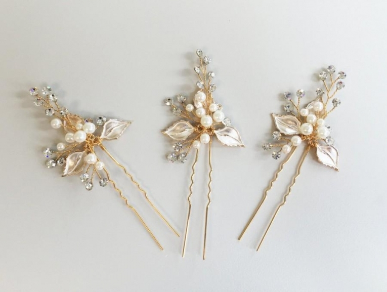 Rose Gold Hair Pins, Floral Wedding Headpiece, Wedding Accessories With Regard To New Hair Pins For Wedding Ty4