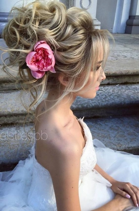 Soft Waves Pink Flower Updo Wedding Hairstyle | Wedding Hairstyles with Big Wedding Hair