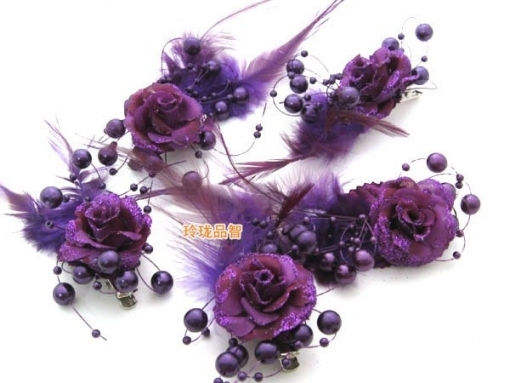 Sweet Purple White Beads Hair About 3 Cm Bridal Dress Accessories With Unique Purple Wedding Hair Accessories Dt3