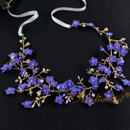 Wedding Bridal Hair Accessories Purple Flower Hair Vine Girls With Regard To Unique Purple Wedding Hair Accessories Dt3