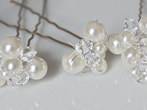 Wedding Hair Accessories, Bridal Hair Pins - Crystal And Pearl with regard to Hair Pins For Wedding